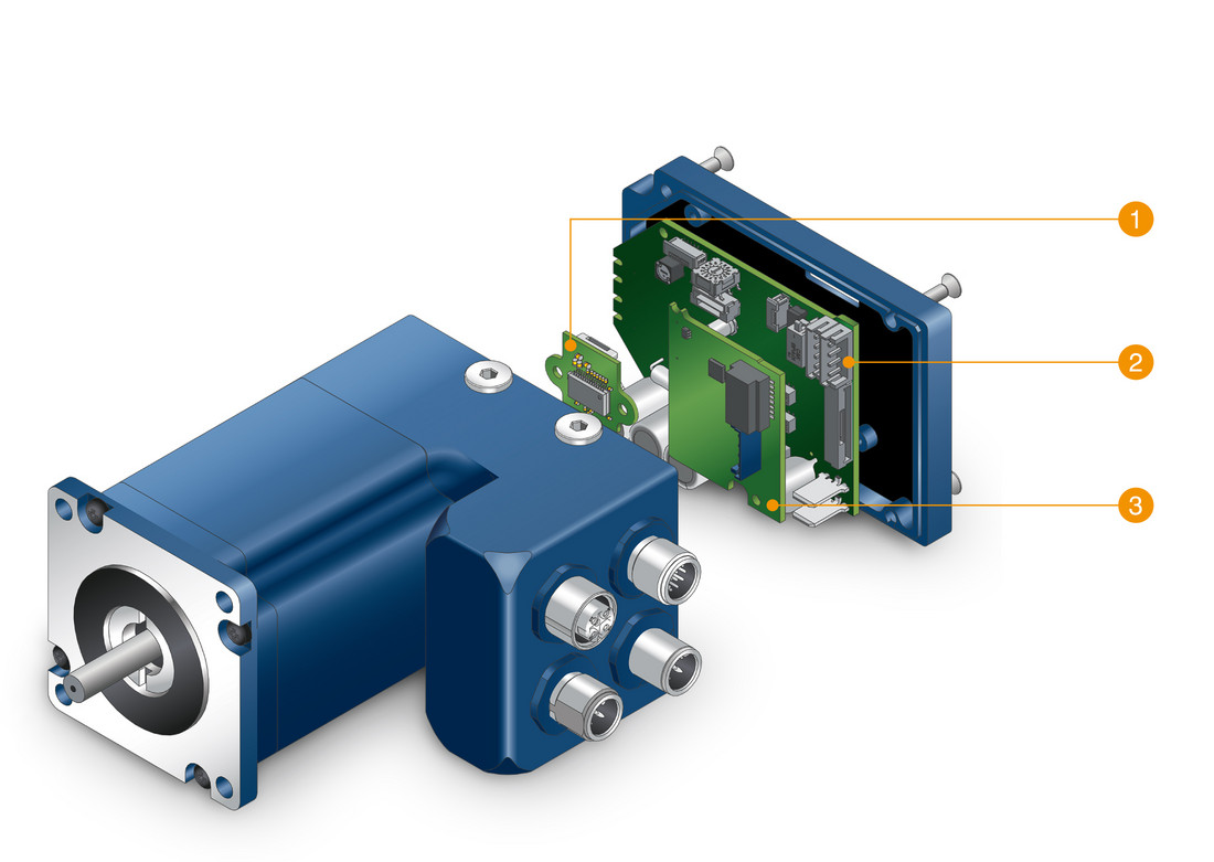 Integrated Brushless DC Motor with programmable Controller, with Singleturn-Absolut-Encoder or Multiturn-Absolut-Encoder